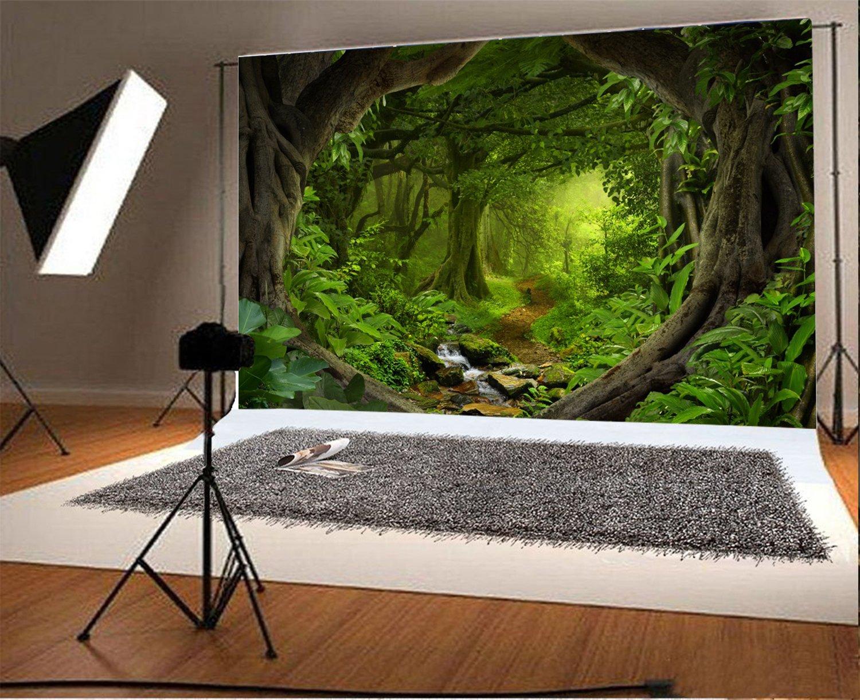 YongFoto 3x2m Vinilo Fondo de fotograf/ía Selva Verde Bosque Paisaje Tel/ón de Fondo de Fotograf/ía Estudio de Foto Studio Props