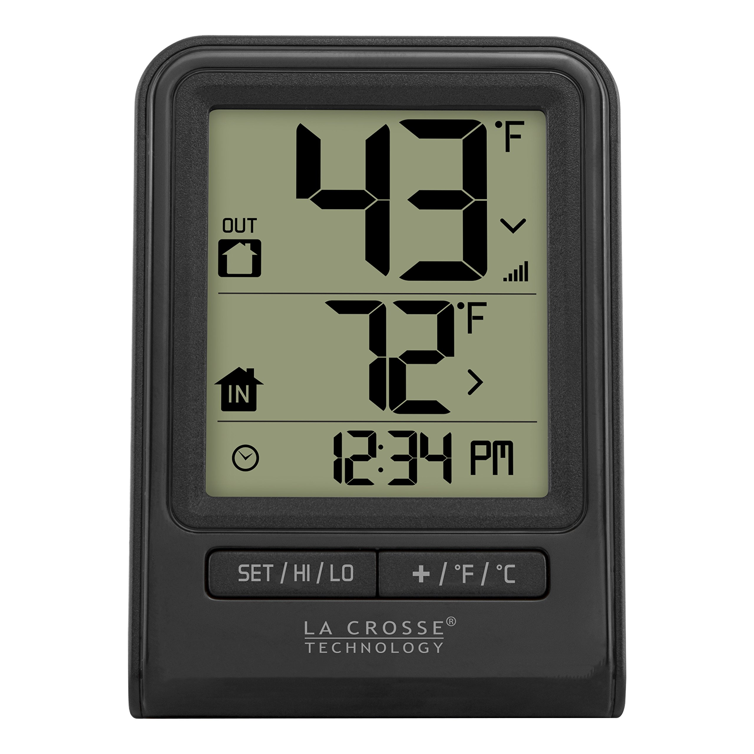 La Crosse Technology 308-1409BT-CBP Wireless Temperature Station with Time, black,