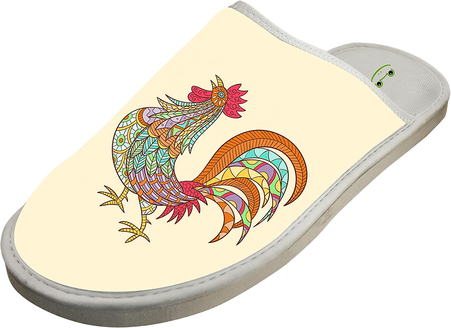 KOUY Beautiful Ethnic Rooster Closed Toe Cotton Slippers Warm Soft Indoor Shoes Non-watertight