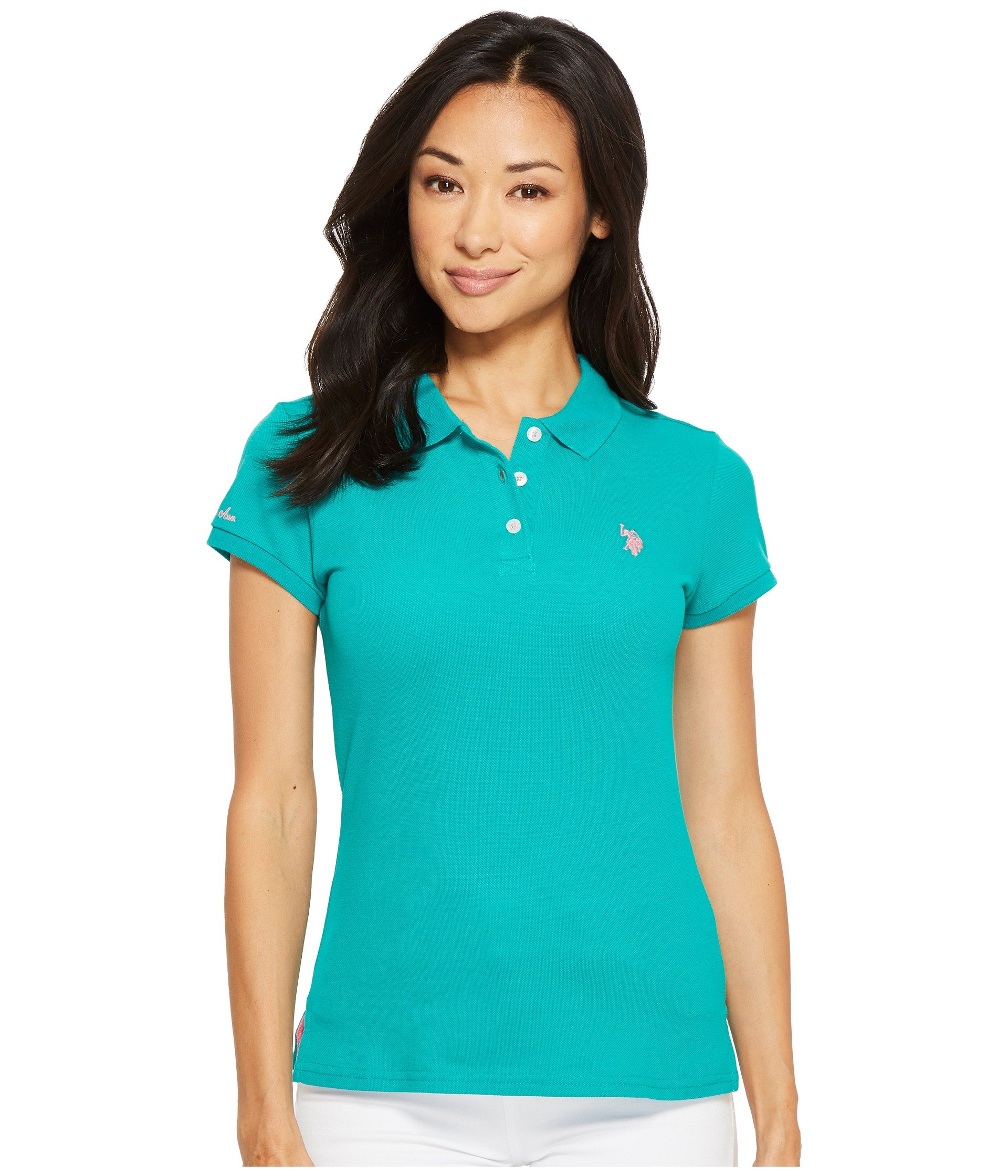 US Polo Assn Women's Solid Pique Shirt, Pappagallo Teal, M