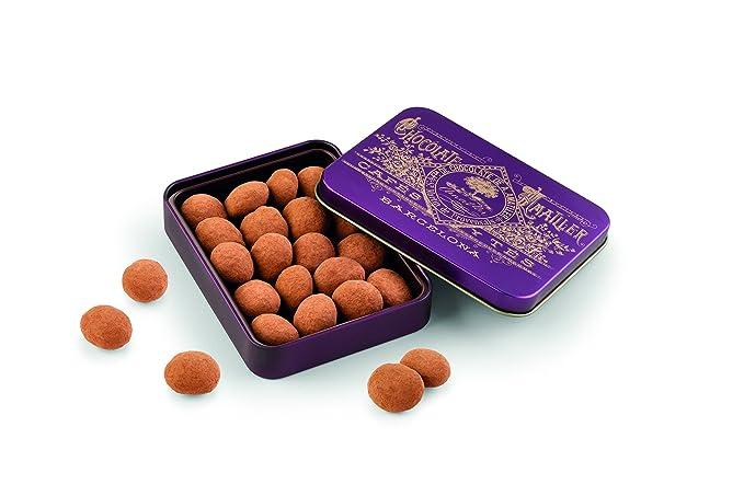 Chocolate Amatller Amatllons - Almendra Marcona caramelizada, chocolate blanco y cacao en polvo caja metal