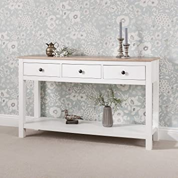 competitive price e8da0 9fe58 Laura James White Console Table | 3 Drawers | with shelf