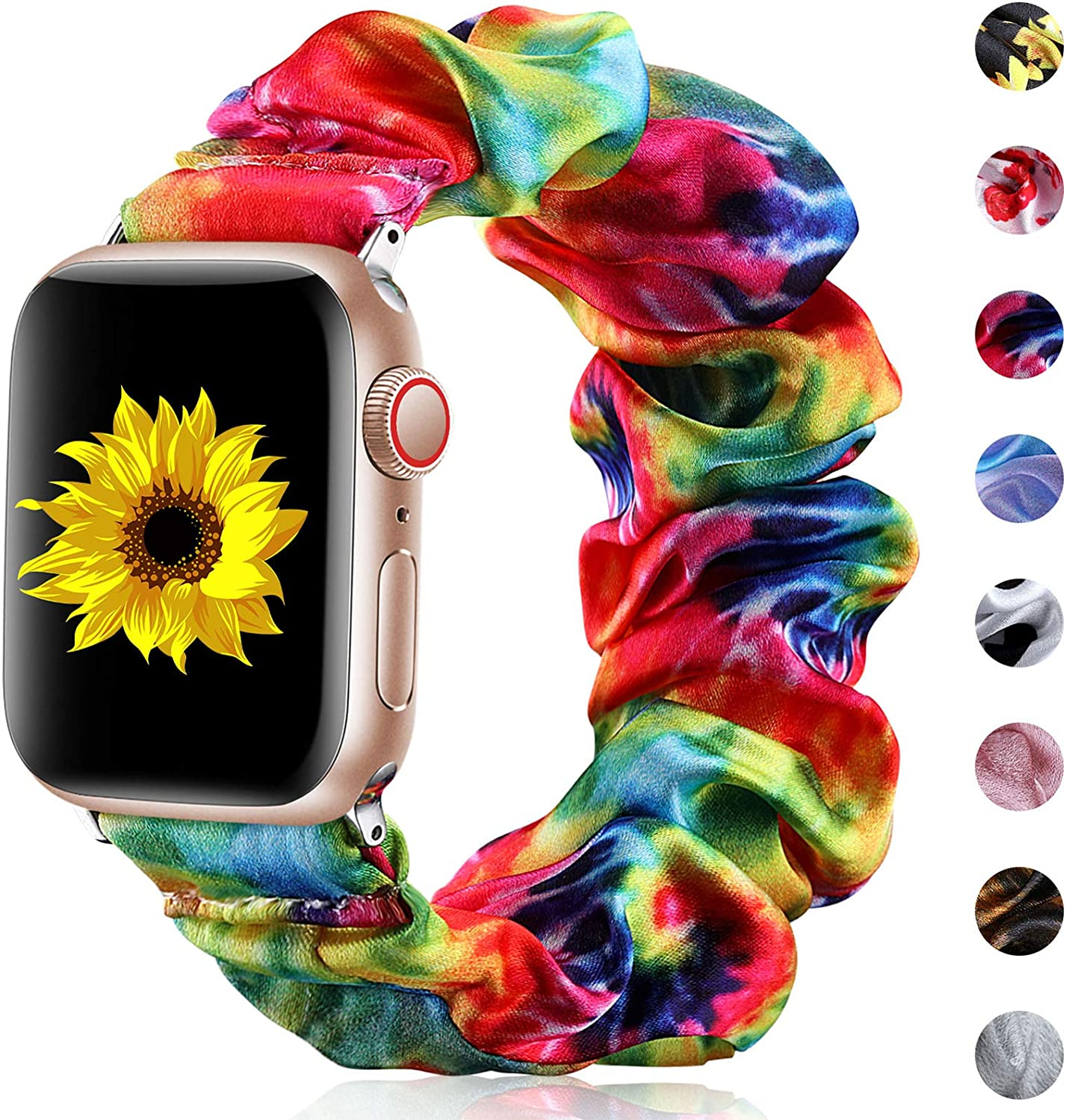 Henva Scrunchies Band Compatible with Apple Watch SE Series 6/5 44mm for Women Grils, Soft Elastic Scrunchy Floral Wristbands Replacement for iWatch 42mm Series 3/2/1, Rainbow, M/L