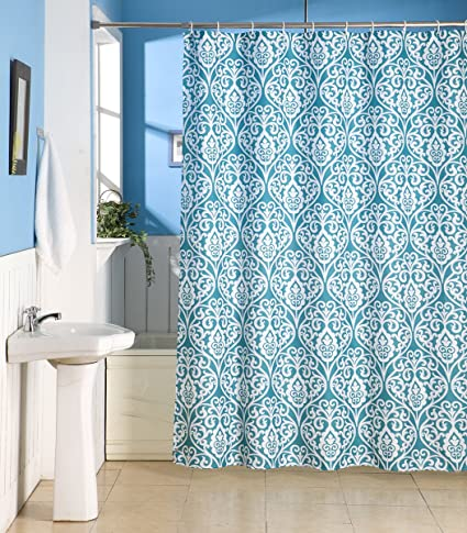 Skipper Damask Print Modern PVC Shower Curtain
