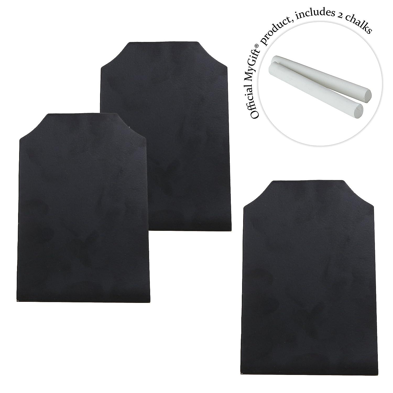 MyGift Set di 3/lavagnette cancellabili nere per segnaposti per matrimoni ed eventi
