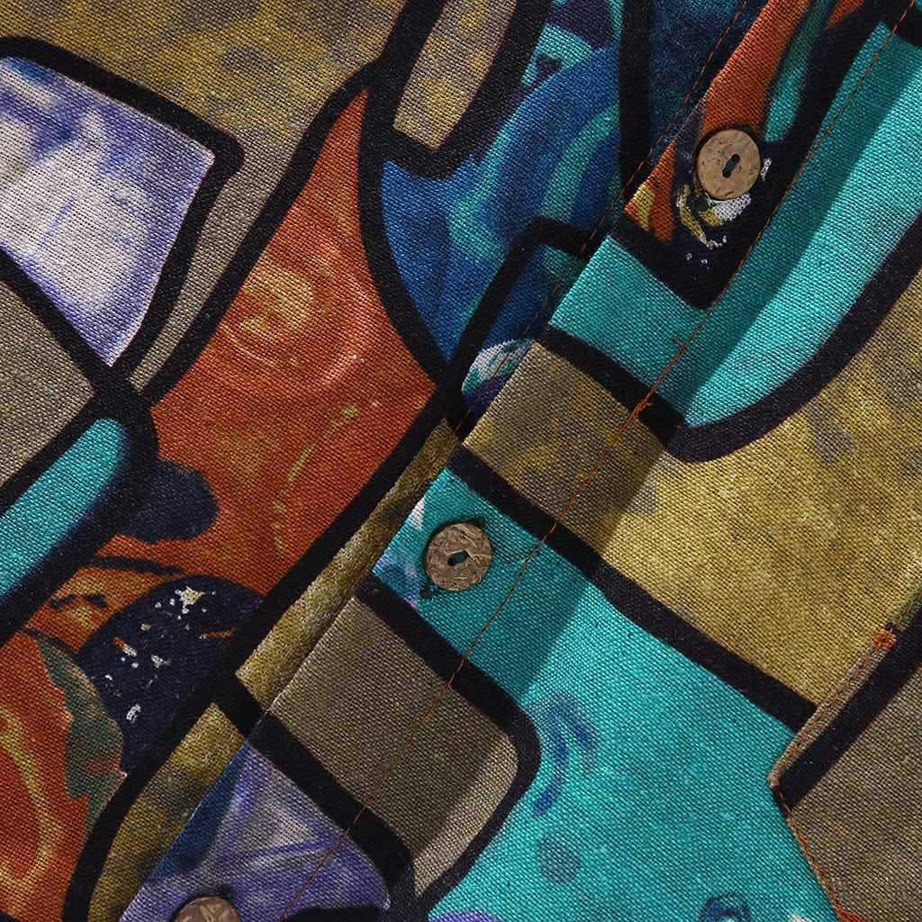 Codomo isola Camicia Casual con Bottoni Maniche Corte Funky Camicia Hawaiana da Uomo Maniche Corte Tasca Frontale Stampa Hawaiana Camicie da Uomo Camicie con comode e Moderne per LEstate
