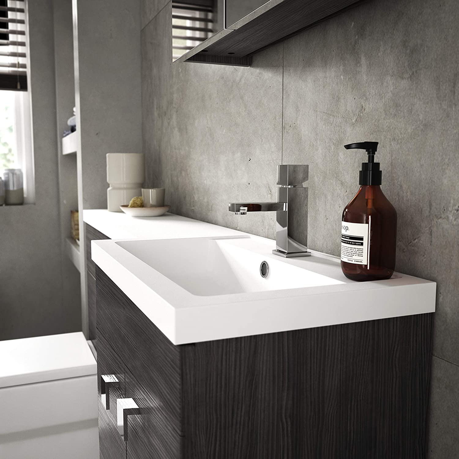 Stone Nuie Off516 Ofg516 Athena ǀ Modern Bathroom Wall Hung Contemporary Single Door Mirror Storage Cabinet Brown Grey Avola 450mm Cabinets Mirror Cabinets
