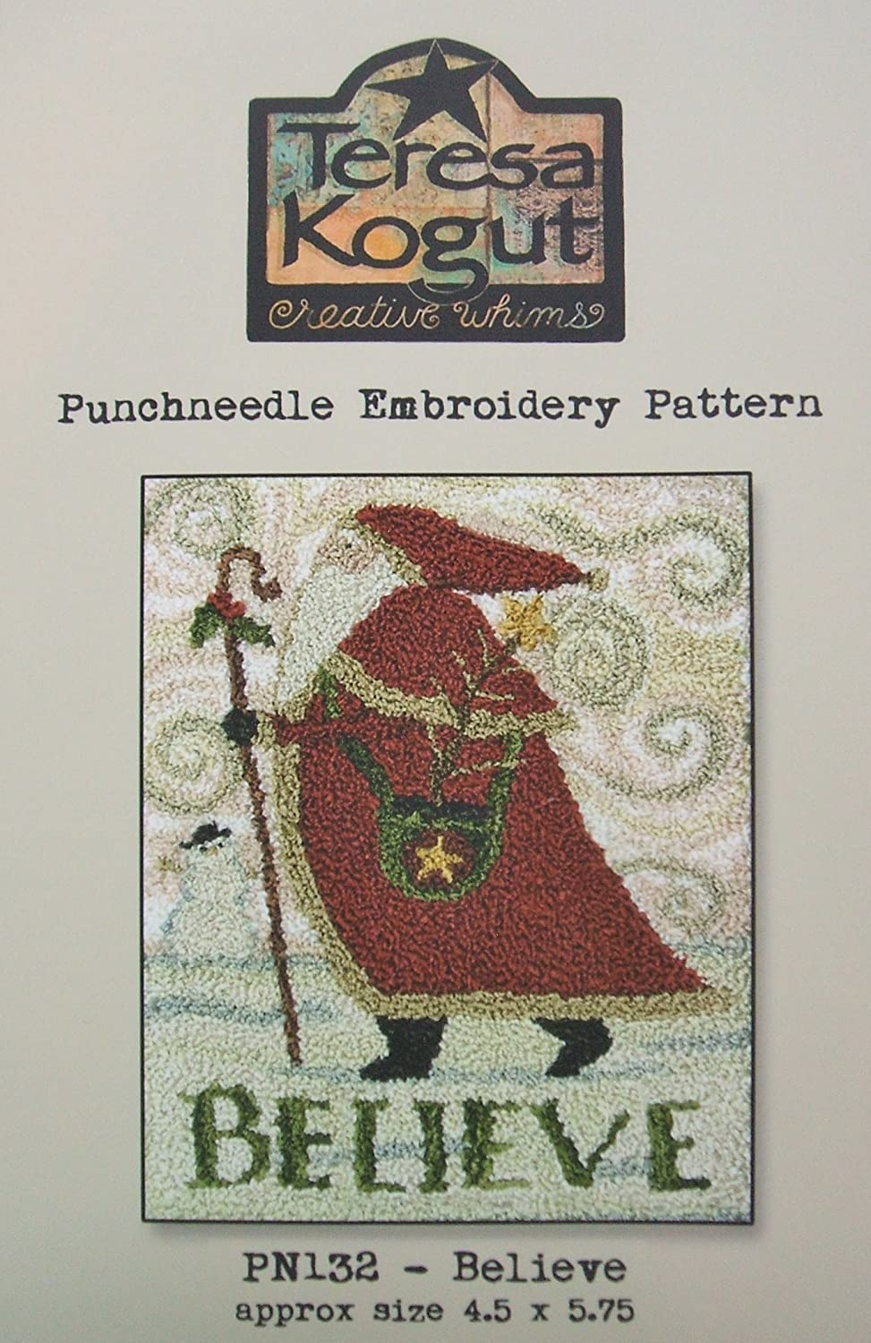 Believe Christmas Santa Punchneedle Punch Needle Embroidery Teresa Kogut Pattern PN132
