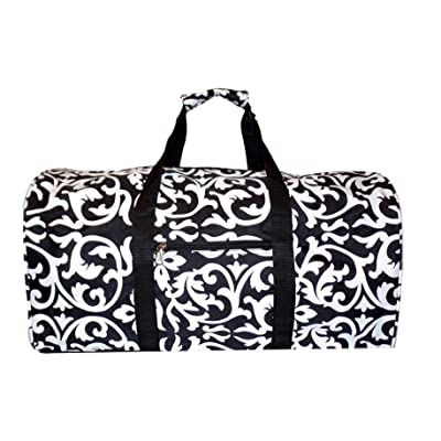 21 in Print Duffle, Overnight, Carry on Bag with Outside Pocket and Shoulder Strap (Black Damask)