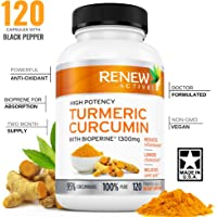 DOUBLE STRENGTH TURMERIC + BLACK PEPPER Capsules! 2 Month Supply! 1300mg! Non-GMO Turmeric Curcumin w Bioperine. Benefits Anti-inflammatory & Anti-Aging. Feel Less Joint Pain in 2 weeks! …