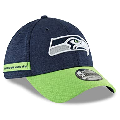f7b34cfb27b54 New Era 2018 3930 NFL Seattle Seahawks Sideline Home Hat Cap Flex Fit Navy  (S