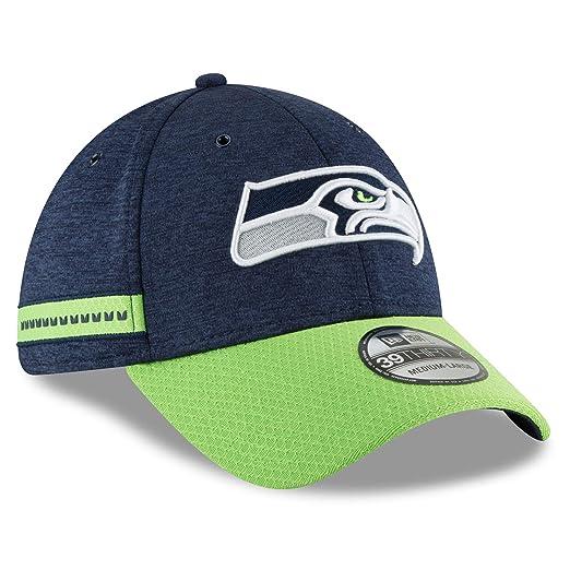 New Era 2018 3930 NFL Seattle Seahawks Sideline Home Hat Cap Flex Fit Navy  (S 6712490fd3f