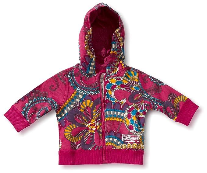 Desigual - Abrigo para niña rosa de 100% algodón, talla: 86/92
