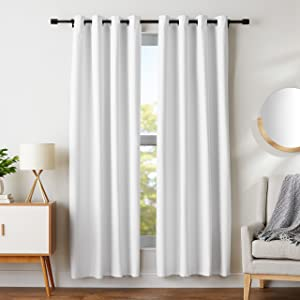 "AmazonBasics Room Darkening Blackout Window Curtains with Grommets Set, 52"" x 84"", White"