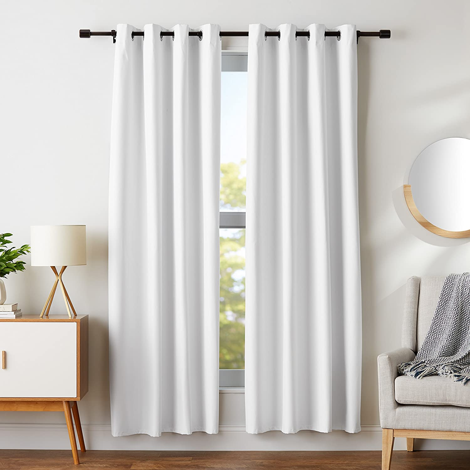 "AmazonBasics Room Darkening Blackout Window Curtains with Grommets Set, 42"" x 84"", White"
