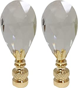 """Royal Designs Radiant Teardrop 1.25"""" Clear Crystal Lamp Finial for Lamp Shade, Polished Brass Base - Set of 2"""