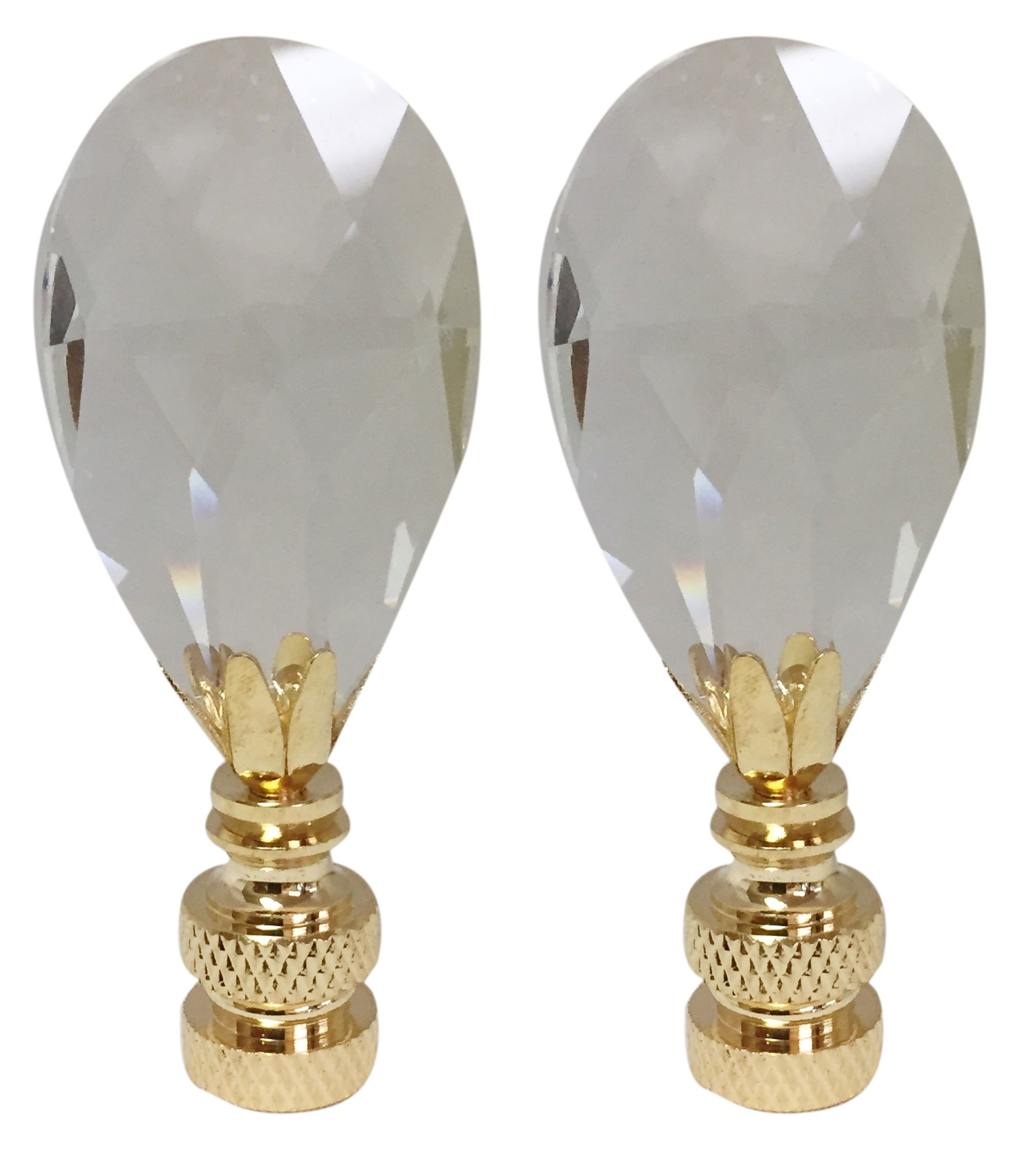 Royal Designs Radiant Teardrop Clear Crystal Lamp Finial for Lamp Shade- Polished Brass Base Set of 2