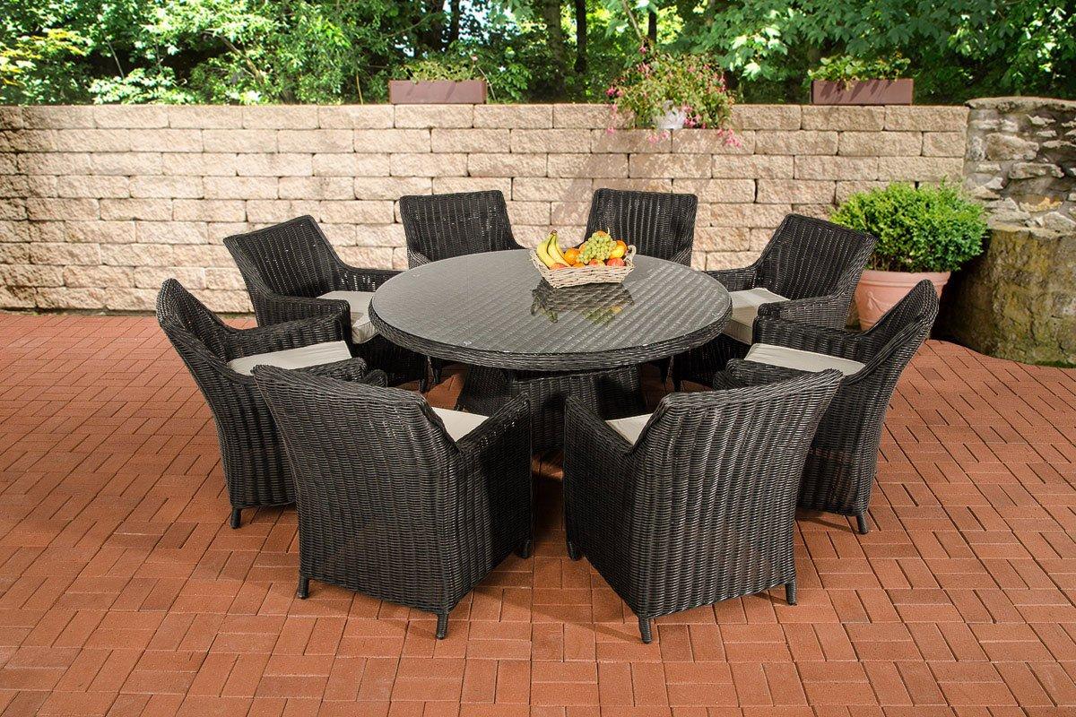 CLP Poly-Rattan Gartenmöbel Sitzgruppe GINOSA XL, 5 mm Rund-Geflecht, Aluminium Gestell (8x Sessel Sandnes + Tisch rund Ø 150 cm) Rattan Farbe schwarz, Bezugfarbe cremeweiß