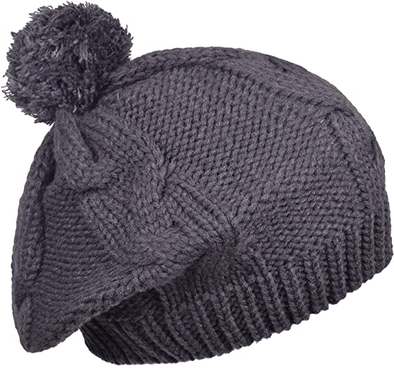 35335ac582d Winter Baggy Beret Hat Womens Crochet Pom Pom knit beanie Skull Cap Women  Gray