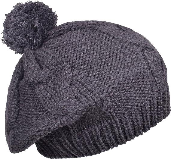 995a2f6c3877 Winter Baggy Beret Hat Womens Crochet Pom Pom knit beanie Skull Cap Women  Gray