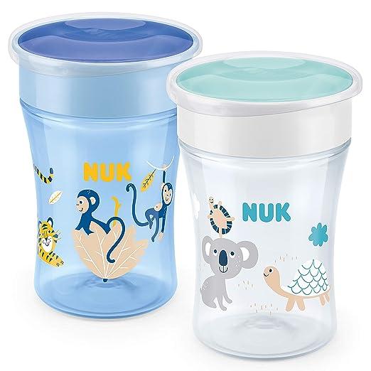 360/°-Trinkrand grau 2 St/ück ab 8 Monaten abdichtende Silikonscheibe BPA frei NUK Monochrome Animals Magic Cup 230ml