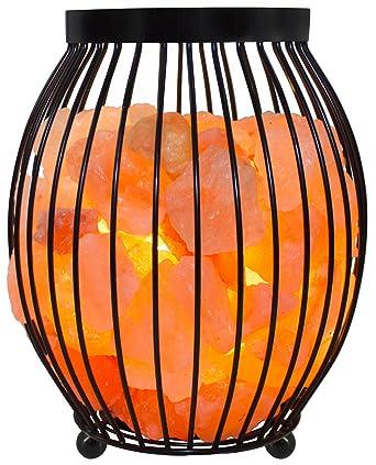 Gadgy ® Himalaya Salzlampe mit Metallkorb   17,5x17,5x21 cm Dimmbar    Handgeschnitzte salzsteine in Pink   E14 Birne inklusive   Natürlich & ...