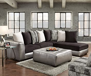 roundhill furniture shimmer pewter microfiber sectional sofa and ottoman black