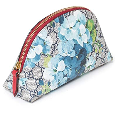 8f4aba91142 Gucci Red Blossoms Blue Italy Chain Flowers Bag Leather Authentic Handbag  New