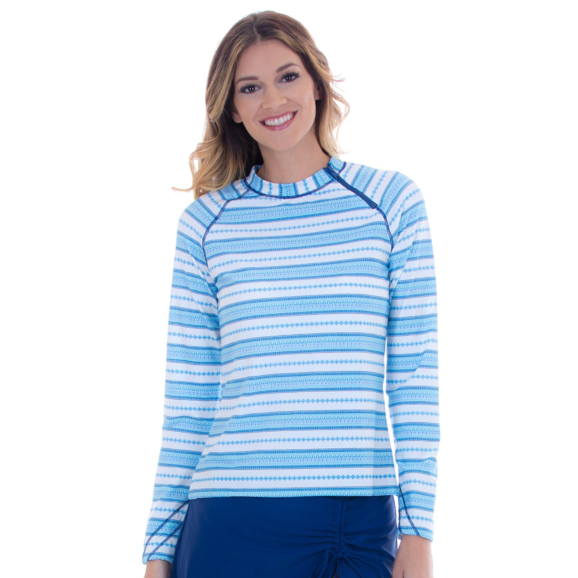 Cabana Life Women's Long Sleeve Zipper Rashguard - Medium - Jewel Stripe