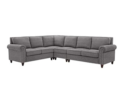Amazon Com Sectional Sofa Set Dorris Fabric Studded Nail Heads L