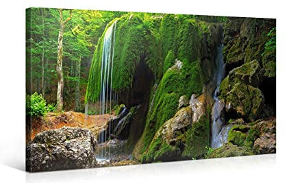 amazon com large canvas print wall art mossy forest waterfall