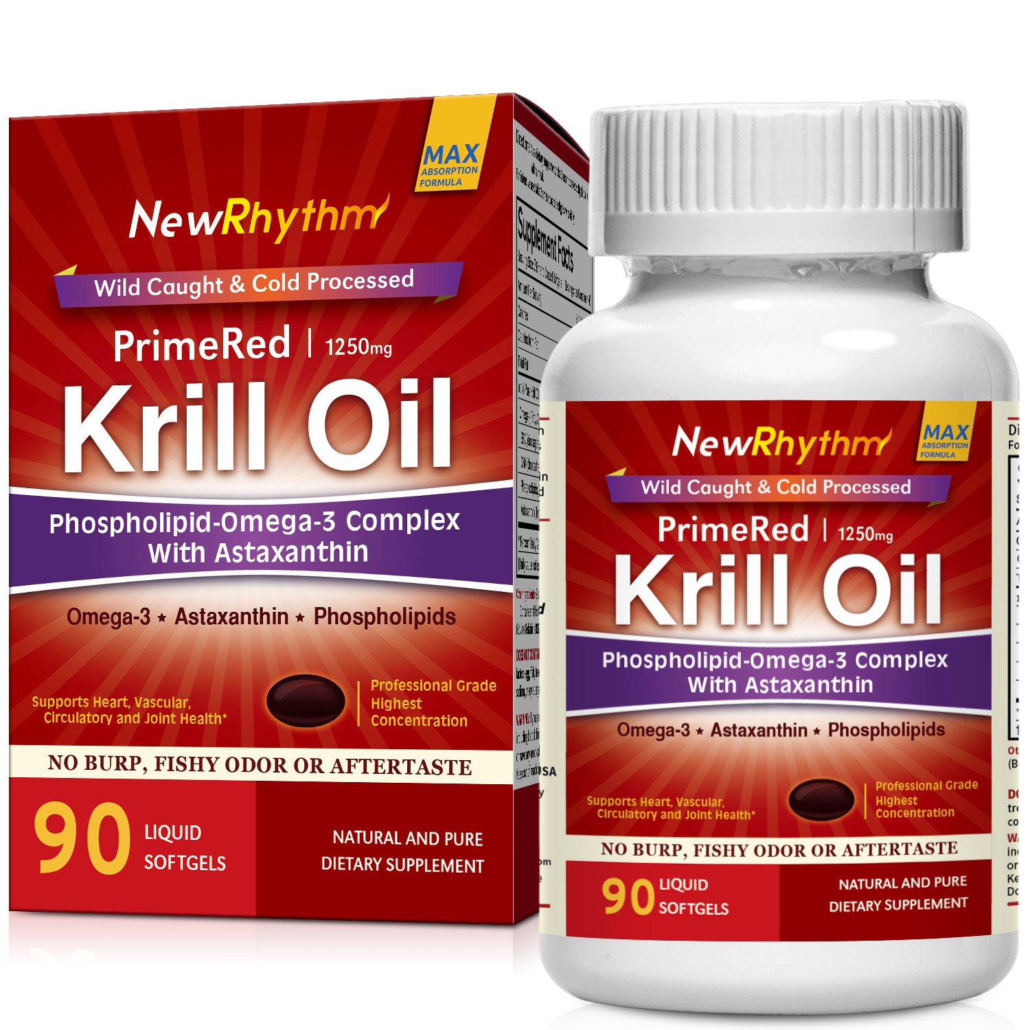NewRhythm Krill Oil, 1250mg High Potency, Pharma Grade 90 Softgels