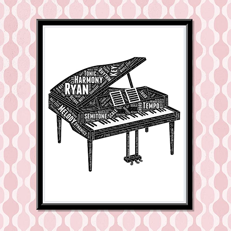 Piano Painting Wall Decor, Personalized Music Wall Art, Birthday Gifts for girls and boys playing piano, Word Art Typography Pianist, Custom Print…