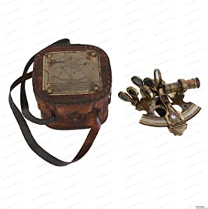 US HANDICRAFTS Antique Style Solid Brass Ship Sextant with Leather Box.