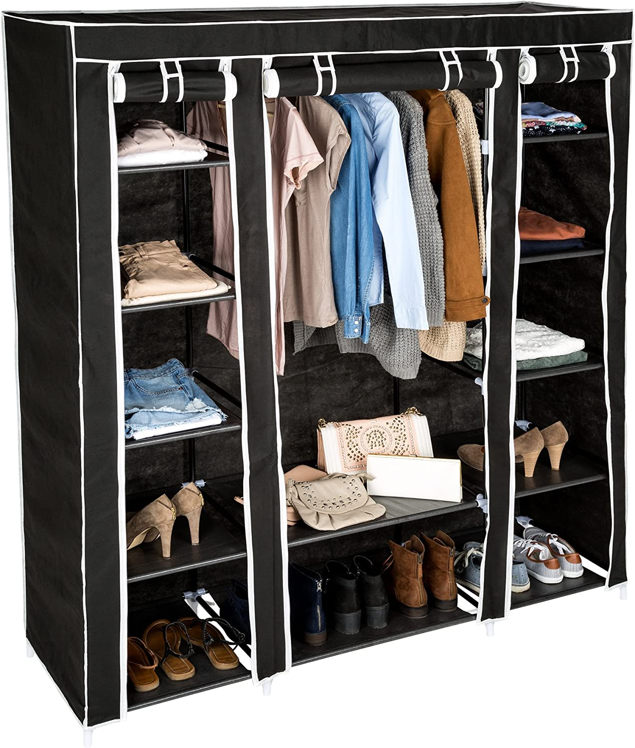 TecTake Triple fabric canvas cupboard wardrobe shelf storage | with clothes rail and 12 compartments | 150 x 175 x 45 cm (Black | no. 402528)