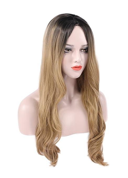 Ombre Peluca larga rizada para mujer cosplay fiesta Halloween disfraz de peluca sintética resistente al calor