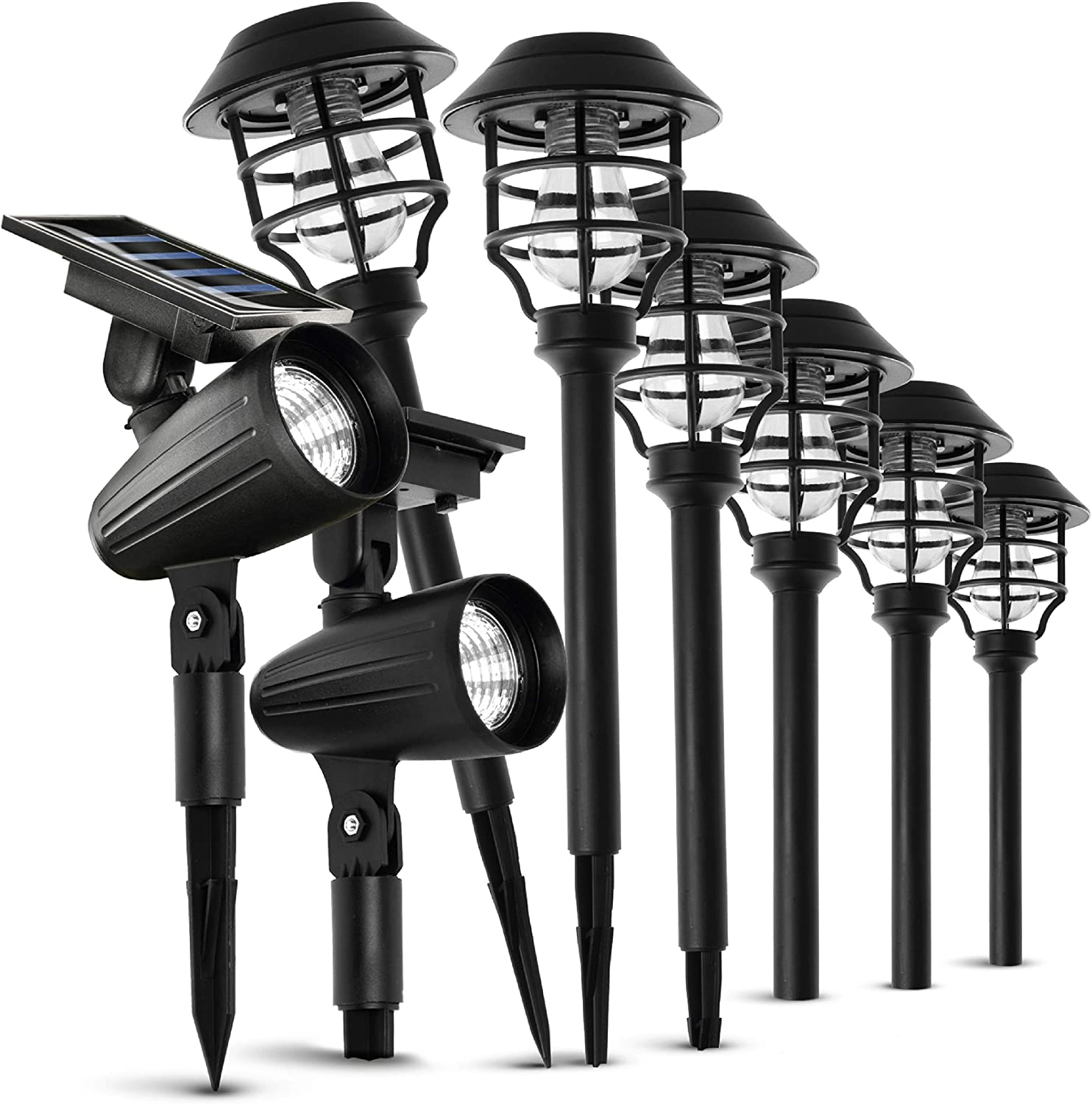 Home Zone Security Solar Path Lights - Outdoor Decorative Pathway Light and Spotlight Variety Pack, 8-Pack