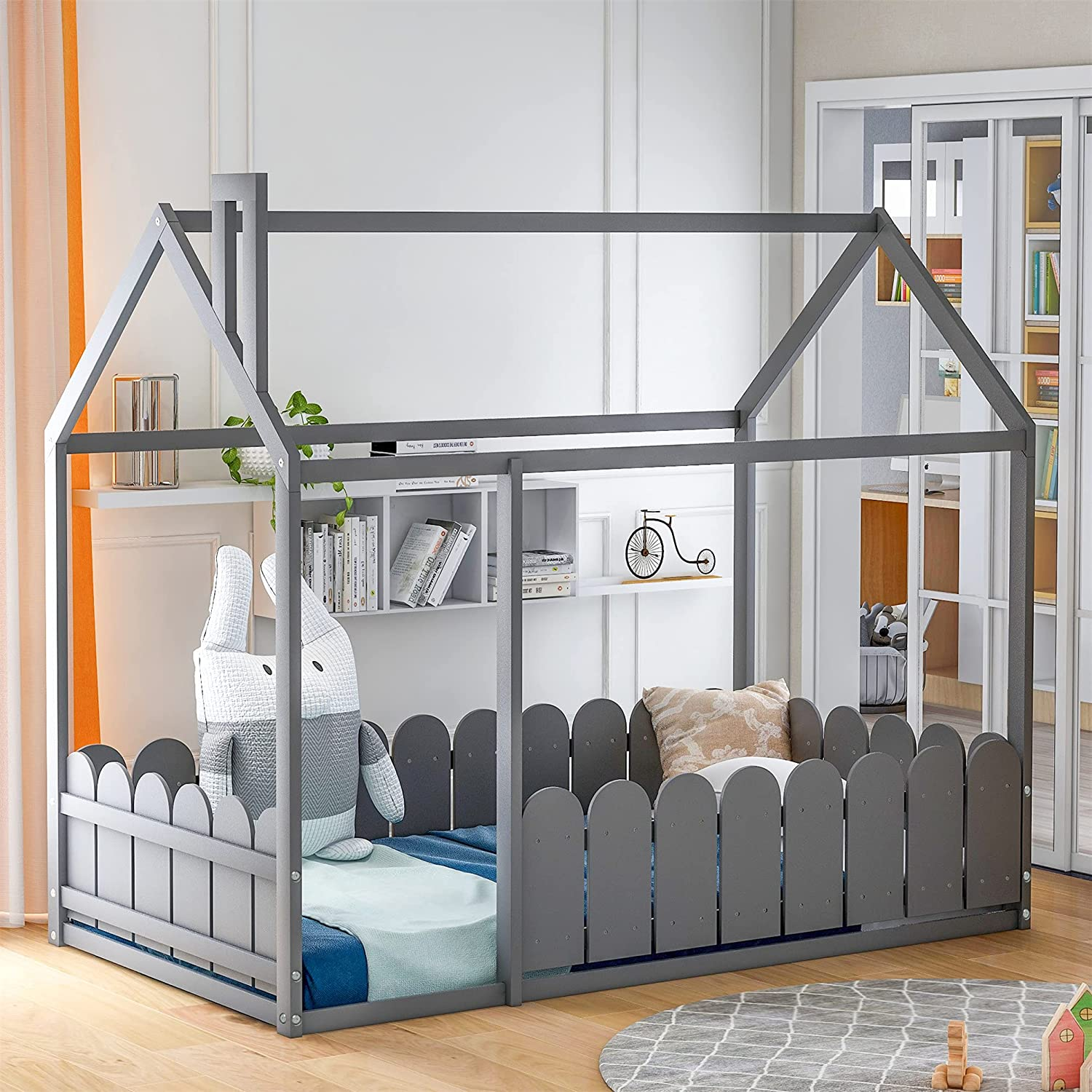 Harper & Bright Designs Twin Bed for Kids ,House Twin Bed with Fence-Shaped Guardrails , Floor Twin Size Bed for Kids, Teens, Girls, Boys ,Grey