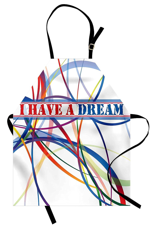 引用符エプロンby lunarable、I Have A Dream有名Quote by MLKブラックHistory Month African Americanアートワーク、ユニセックスキッチン調節可能なネックよだれかけエプロンfor Cooking Bakingガーデニング、マルチカラー   B07942CPB6