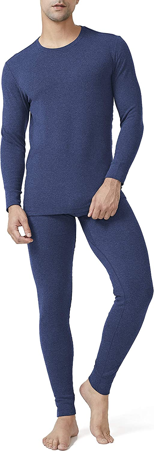DAVID ARCHY Mens Cotton Fleece Lined Shu Velveteen Stripe Ultra Soft Winter Warm Top /& Bottom Thermal Set Long John with Fly