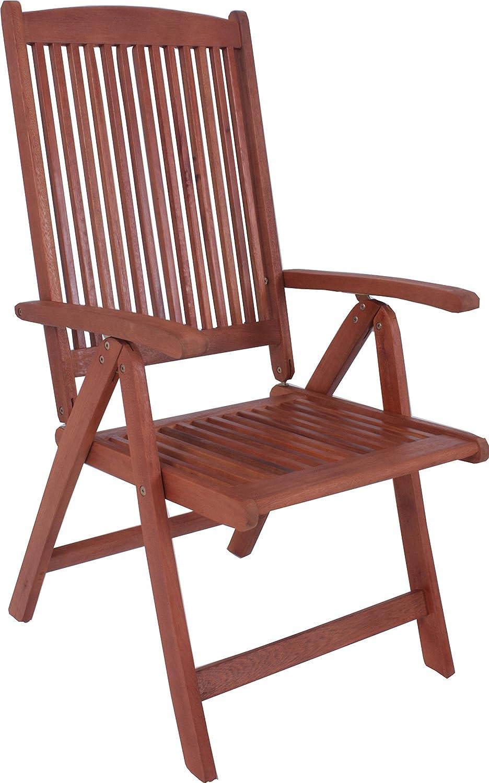 7-teiliges XXL Sandra Gartenmöbel Set bestehend aus 6 Hochlehner Stühlen und einem ausziehbaren Tisch Garten Garnitur Sitzgruppe Sessel Eukalyptus - sehr hochwertig verarbeitete Gartengarnitur Echtholz 6 Klappsessel 1 Tisch Echtholz