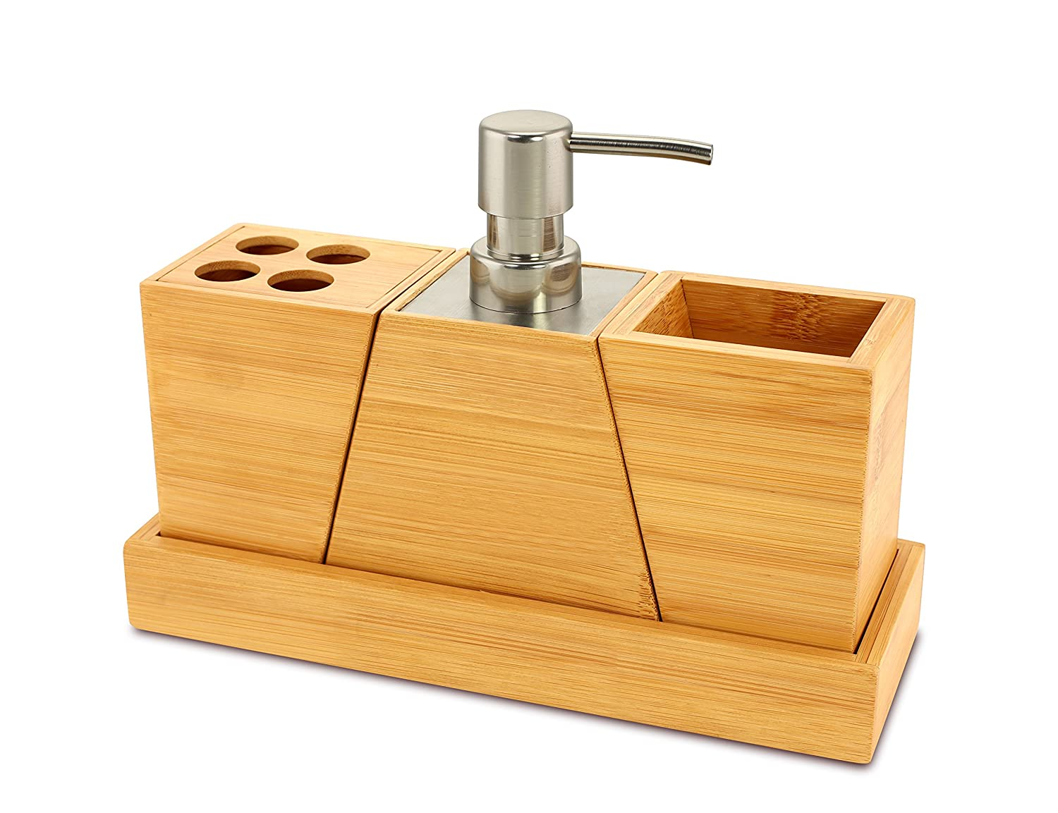 Bathroom Vanity Accessory Sets Amazoncom Elegant And Stylish Bamboo Bathroom Set Home Kitchen