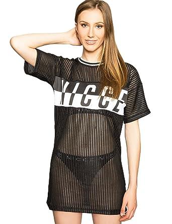 49971c9dbc5 Nicce London Mesh Dress - Logo Print - T-Shirt Dress - Womens (8)   Amazon.co.uk  Clothing