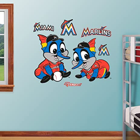 Attirant MLB Miami Marlins Baby Mascot Fathead Wall Decal, Real Big