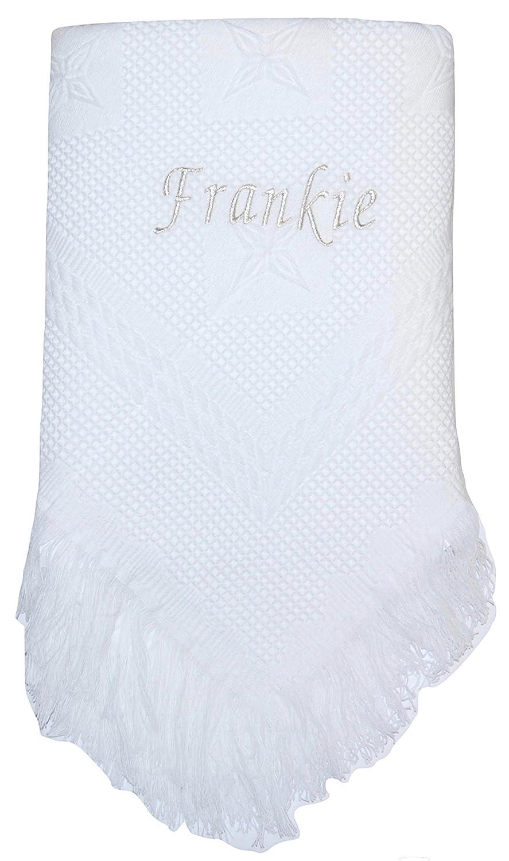 Snuggle Baby Personalised Baby Girl Boy Shawl Blanket Christening Shower Gift Grey Name White
