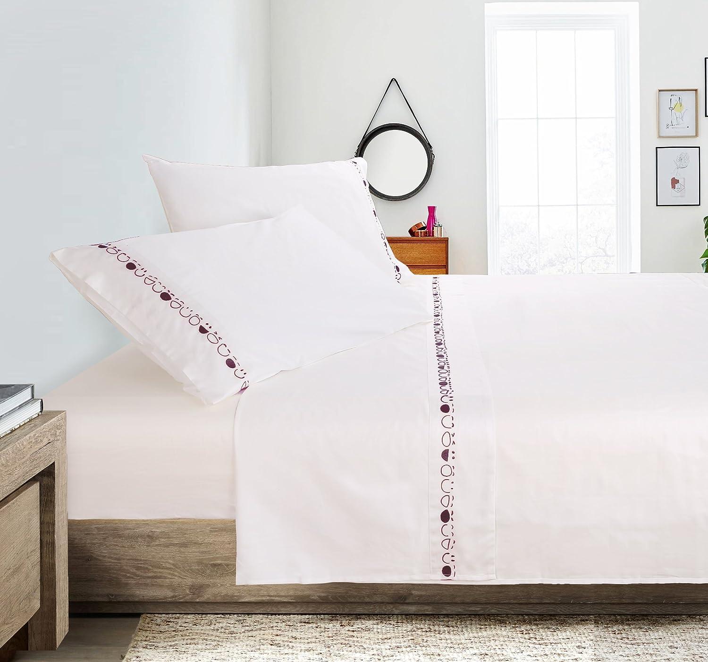 Putianホーム100 %コットン400スレッドパーケール刺繍シートセット クイーン レッド B075RZP7MN クイーン White+mediumred White+mediumred クイーン