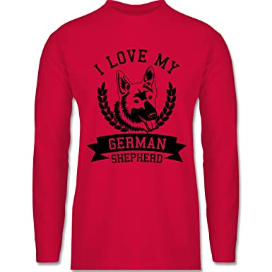 Shirtracer Hunde - I Love My German Shepherd - S - Rot - BCTU005 - Herren
