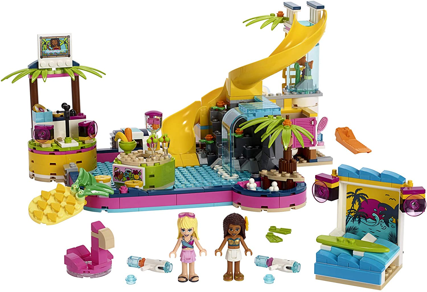 LEGO Friends Andrea\'s Pool Party 41374 Toy Pool Building Set with Andrea and Stephanie Mini Dolls for Pretend Play, Includes Toy Juice Bar and Wave Machine (468 Pieces)