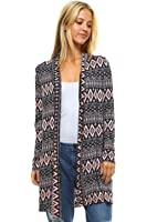 96ea116aaa Frumos Womens Sweater Open Front Long Sleeve Printed Cardigan Made In USA