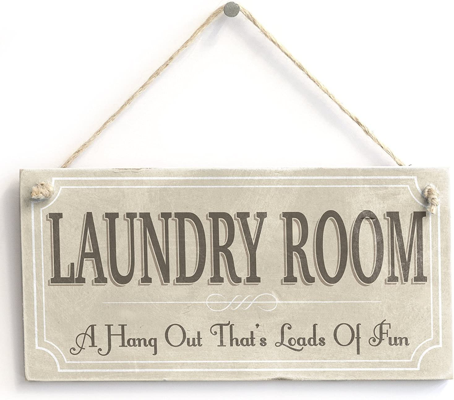 "Meijiafei Laundry Room A Hangout Thats Loads of Fun - Rustic Country Hanging Door Sign Plaque 10""x5"""